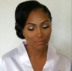 Natural bridal glam on black/African-American bride