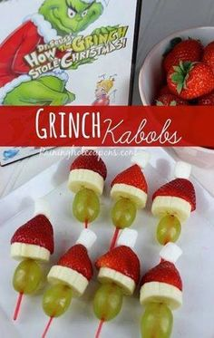 Grinch kabobs! Did these last year in small groups while watching the movie. Kids LOVED it!!!!!