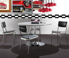 Chaise de salle à manger design en PU noir et blanc CAMUS (lot de 2), Chaise de salle à manger en