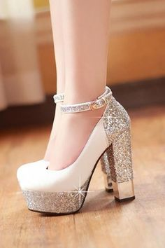 Womens Ankle Strap Bride Wedding Party Date Pumps Platform High Heels Shoes Wedding Pumps, Wedding Shoes Bride, Bride Shoes, Stiletto Shoes, Shoes Heels, Stilettos, Ankle Strap Shoes, Thick Heels, Platform High Heels