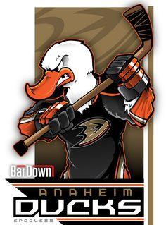 Amazing fan art to get you excited for the NHL Stanley Cup Playoffs. - NHL Playoffs Mascot Art by Eric Poole Nhl Hockey Teams, Ducks Hockey, Hockey Rules, Hockey Logos, Nhl Logos, Sports Team Logos, Ice Hockey, Sports Art, Hockey Season