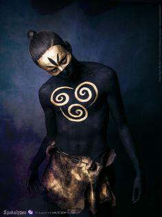 Apokalypse | Projet : Apokalypse Caste : Dairakudakan Créé par : Free Spirit Modèle : Kémil MUA : Honorine Makeup Studios Accessoires : Fraise au Loup Costumes  website : www.freespiritcrew.com facebook : www.facebook.com/freespiritcrew  #bodypainting #gold #black #dairakudakan #freespirit #tattoo #facepainting