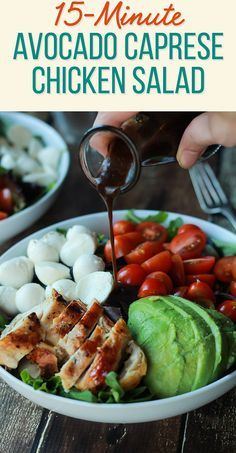Healthy Recipes - A Quick Easy Dinner for two, Avocado Caprese Chicken Salad topped with a light Balsamic Vinaigrette. The perfect Salad recipe for summer that only takes 15 minutes! Ways To Eat Healthy, Healthy Snacks, Healthy Eating, Healthy Recipes, Healthy Tips, Healthy Dinners, Vegetarian Recipes, Protein Dinners, Quick Recipes