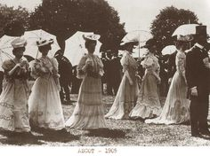 ~Ascot-1905-Edwardian-ladies-fashion. In Edwardian Britain, the age old London Season, running from February to July,  allowed women the opportunity to display their very best Paris acquisitions. From the opening of Covent Garden to the Royal Drawing Rooms, to private balls and concerts, and to Ascot Royal Enclosure, the very latest, the best and the worst in fashions were displayed by the social elite~