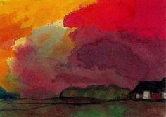 Corps de ferme en vertu de soirée rouge de Emile Nolde (1867-1956, Germany)