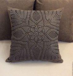 """Купить """"Венеция"""". Подушка с отделкой из кружева ручной работы - коричневый, подушка, подушка на диван, подарок"""