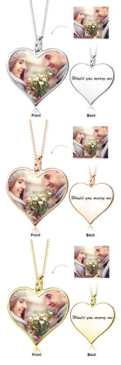 Customize Your Color Photo and Engraved Text in Love Heart Pendant Necklace in Sterling Silver/14K Gold 2017 hottest write name on jewellery. Come to Yafeini to pick your beloved Personalized necklace https://www.jewelrypersonalizer.com