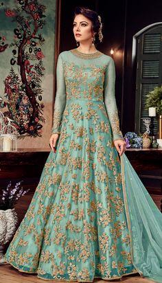 Party Wear Green color Salwar Kameez in Net fabric with Abaya, Anarkali Embroidered, Stone, Thread, Zari work Pakistani Fashion Casual, Pakistani Wedding Outfits, Pakistani Dress Design, Shadi Dresses, Indian Gowns Dresses, Pakistani Dresses, Designer Party Wear Dresses, Indian Designer Outfits, Indian Outfits