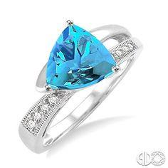 8x8mm Trillion Cut Blue Topaz and 1/20 Ctw Single Cut Diamond Ring in 14K White Gold, D.J. Bitzan Jewelers