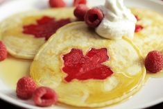 These patriotic pancakes, with a red maple leaf in the centre, are perfect for Canada Day. Fresh red berries, whipped cream and maple syrup are all great toppings, but you can switch it up with whatever fruit and syrups you like. Orange Trifle Recipes, Canada Holiday, Good Food, Yummy Food, Tasty, Food Network Canada, Unique Desserts, Canada Day, Breakfast For Kids