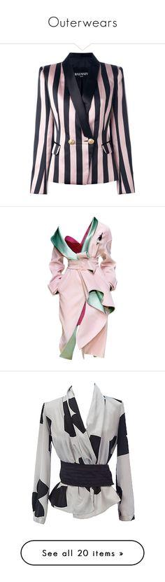 """Outerwears"" by rafakeka on Polyvore featuring outerwear, coats, red valentino coat, 3/4 sleeve coat, cotton coat, stripe coat, striped coat, jackets, blazers e blazer"