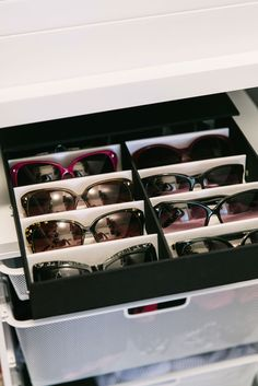 How To Deal With Your Messy, Crowded Closet #refinery29  http://www.refinery29.com/small-walk-in-closet-organization-ideas#slide14  After:  Sunglasses get their own shelf above the bins.
