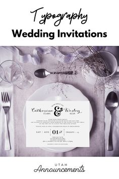 Keep it simple yet elegant with this wedding invitation design. Create one with us today! Typography Wedding Invitations, Simple Wedding Invitations, Custom Wedding Invitations, Save The Date, Announcement, Create, Words, Classic, Personalised Wedding Invitations