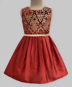 Burgundy Velvet Damask Dress - Girls
