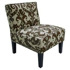 Ikat-print upholstered slipper chair with a pine frame. Handmade in the USA.   Product: ChairConstruction Material: Wood, cotton and foam paddingColor: Cobblestone brownFeatures:  Ikat designHandmade in the USAThree button detailing Dimensions: 33 H x 32 W x 25 D