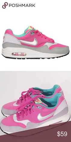 4ce4500560b NIKE AIR MAX 1 Hot Pink/Metallic Silver-Mint-Green NIKE AIR MAX 1 Hot  Pink/Metallic Silver-Mint-Green Platinum Sz. 7 Good Condition Nike Shoes  Sneakers