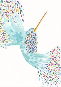 Rainbow Hummingbird - Watercolor Painting