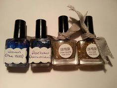 Stellar Polish: Woman, Dear Heather, Luv Polish: Golden Serenity and All Is Gold. Golden Serenity swatched one hand others unused. Nail Polish Sale, Sale Uk, Ea, Serenity, Perfume Bottles, Woman, Nails, Gold, Finger Nails