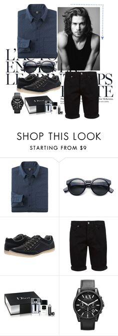 """""""Sem título #137"""" by alexia-lourenco ❤ liked on Polyvore featuring Été Swim, Uniqlo, Merrell, Calvin Klein Jeans, Topman, Christian Dior and Armani Exchange"""
