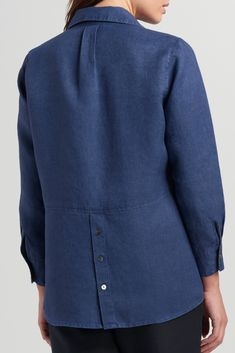 Best 12 Linen point collar shirt with button details. Collar Shirts, Shirt Blouses, Pocket Detail, Blouse Designs, Work Wear, Long Sleeve Shirts, Sleeves, How To Wear, Clothes