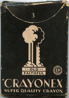 art deco, two colour illustration vintage box of Crayonex crayons. 1920's 1930's