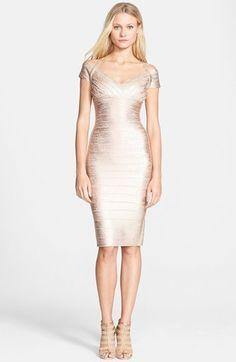 f6e4061fcecd Herve Leger Off Shoulder Foiled Bandage Dress Herve Leger Dress