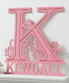 Pink Floral Personalized Wood Plaque