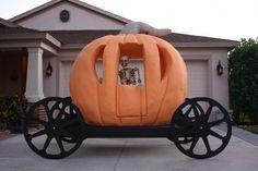 Sinister Sid has been building this Pumpkin carriage. Halloween Costume Props, Halloween Crafts, Halloween Ideas, Halloween Decorations, Cinderella Decorations, Pumpkin Carriage, Halloween Parade, Golf Theme, Spooky Pumpkin