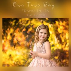 Join me on May 26, 2018 for One Fine Day in Franklin, TN Location: Franklin, TNZip Code: 37064Time: 4pm - SunsetThis is a 4 hour workshop with a styled shoot of 2-4 child models. I will be covering everything from finding the light, styling, child interactions, post processing, and all the tools you will need to advance in your craft. I am an open book and you are free to ask me anything.You will receive a detailed edit of our shoot together within 3 days of the work...