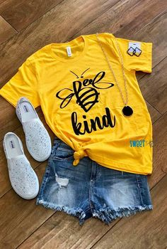 Bee Kind O-Neck T-Shirt Tee - Yellow Fashion girls, party dresses long dress for short Women, casual summer outfit ideas, party dresses Fashion Trends, Latest Fashion # Home T Shirts, Vinyl Shirts, Cute Blouses, Cute Shirts, Cute Yellow Shirts, Women's Yellow Shirt, Yellow Tees, Design T Shirt, Shirt Designs
