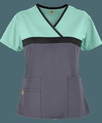 The WonderWink ORIGINS SBP Scrub Top features a tri-color mock wrap styling and 5 pockets for storage. Shop here for Fashion Scrubs at Uniform Advantage! Uniform Advantage, Scrub Life, Medical Scrubs, Nursing Clothes, Medical Field, Scrub Tops, Black Trim, Caregiver, Sewing Techniques