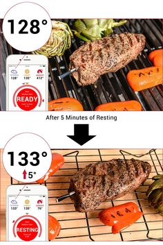 "The rise in meat temperature by several degrees, as it ""rests"" after you take it out of the oven is enough to overcook your food."