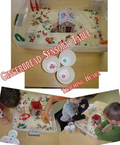 Gingerbread sensory table with white rice, dollar store items and tweezers