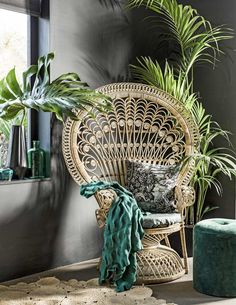hippy room 207376757824950729 - Chaise Paon Pouf Vert Source by turbulencesdeco Wicker Furniture, Decor, Chair, Hanging Plants Indoor, Feng Shui Decor, Wicker Chair, Tropical Interior, Peacock Chair, Home Decor
