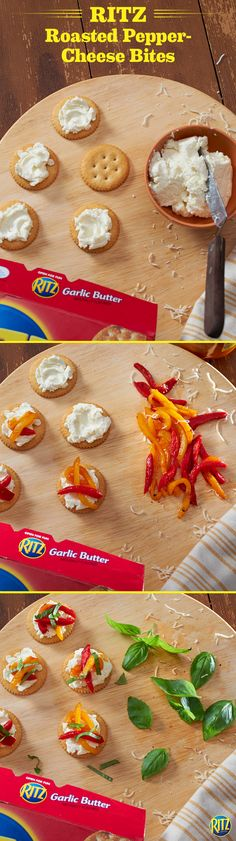 These RITZ cracker Roasted Pepper-Cheese Bites are a great appetizer to serve before Thanksgiving dinner. Mix cream cheese and shredded mozzarella until blended, spreading onto crackers. Top with roasted red and yellow peppers then bake until cheese blend is melted. Sprinkle on some fresh chopped basil and enjoy!