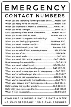 Emergency Contact Numbers: LDS scripture references. Great for Young Women and Young Men, easy to photocopy. by Melanie Slavens Whiting