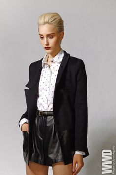 Fall 2012 Trend: Cut Short  Porter Grey's wool, cashmere and leather blazer with leather shorts and cotton shirt. N.D.C. Made by Hand belt.