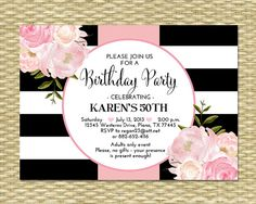 Classic black and white stripes with beautiful watercolor floral graphics highlight this elegant adult birthday invitation. Perfect for a