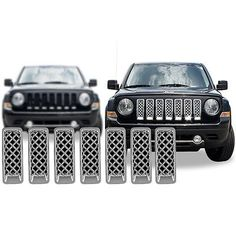 Chrome Grille Overlay FOR 2011 2012 2013 2014 2015 Jeep Patriot (7 Pieces Kit)