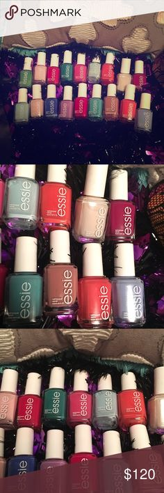 💅🏼Bundle of 18 bottles of essie nail polish.💅🏼 This Essie nail polish bundle has 18 new bottles of polish, all different colors except two in Mint Candy Apple that look different. Colors are (right to left): Big Spender, Bikini So Teeny, limo-scene, Cute as a Button, Sunday Funday, Eternal Optimist, Mint Candy Apple, In the cab-ana, Mod Square, Haute in the Heat, Naughty Nautical, Play Date, Double Breasted Jacket, Butler Please, Fiji, Muchi Muchi, Mojito Madness & Mint Candy Apple. 💅🏼…