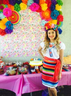 Flower backdrop  Mexican theme fiesta. Mexican theme outfit for fiesta. Zarape skirt.  Embroidered Mexican blouse. Flower crown insta: @zoepeasmom
