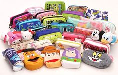 Cute pencil cases with Hello Kitty, Rilakkuma, glitter and plush from Japan in lots of different designs. Japanese School Supplies, Diy Back To School Supplies, Japanese Stationery, Kawaii Stationery, Pencil Boxes, Pencil Pouch, Cute Pencil Case, Japan Shop, Cute Stationary