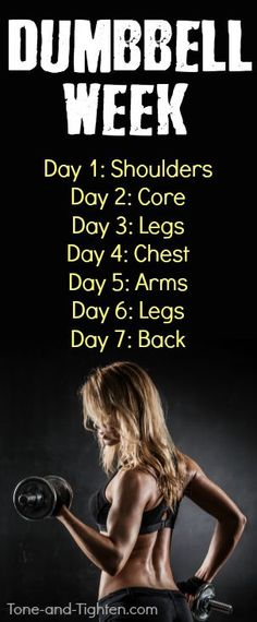 One complete week of dumbbell workouts on Tone-and-Tighten.com