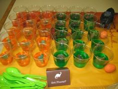 Excavate the dino from the jello at a Dinosaur Party #dinosaur #partyfood