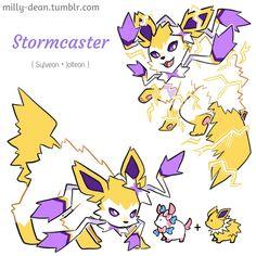 Very Special Pokemon Stormcaster Eeveelution Pokemon Pins, Pokemon Comics, Pokemon Memes, My Pokemon, Cool Pokemon, Pikachu, Pokemon Stuff, Pokemon Cards, Pokemon Fusion Art