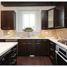 Backsplash Ideas For Dark Cabinets Design Pictures Remodel Decor
