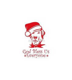 God Bless Everyone - #puppy #Dog #Christmas Hat #pillow #animal #pet #xmas #giftideas