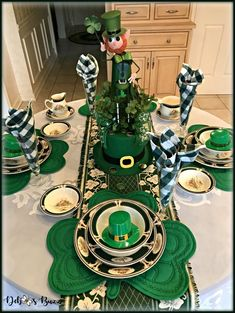 Create a charming tablescape with Ireland Pursuit dishes and DIY leprechaun centerpiece. #tablescape #tablesetting #stpatricksday #centerpiece