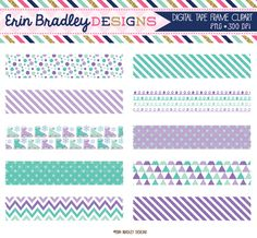 Ice Skating Digital Washi Tape Clipart Purple Graphics Personal & Commercial Use Clip Art