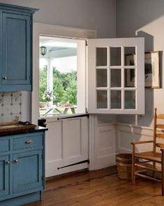 Dutch door in a kitchen. I have always dreamed of a dutch door in our kitchen. Half Doors, Sweet Home, Traditional Doors, Traditional Kitchen, Kitchen Doors, My Dream Home, Home Interior Design, Home Kitchens, Kitchen Remodel